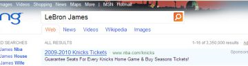 LeBron James Bing Search Results