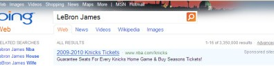 LeBron James Bing Search Results