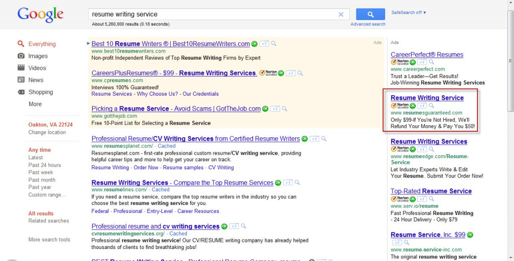 Google Search - Resume Writing Service