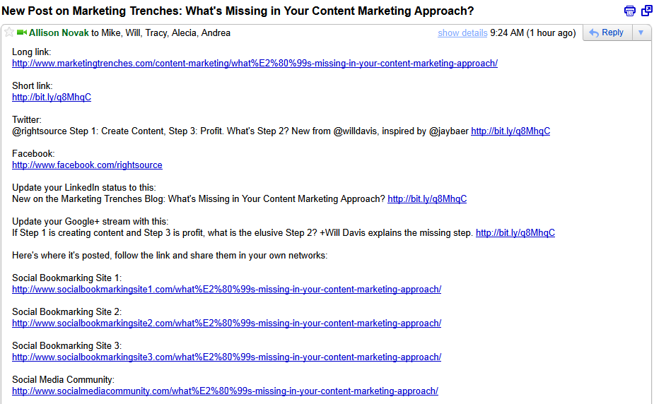 Be very specific about what and how you want your employees to share content.
