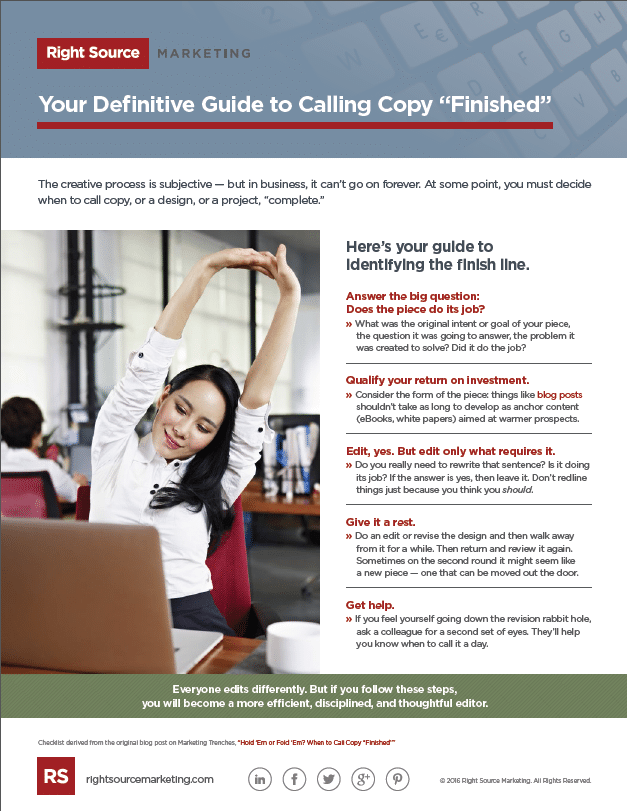 Your Definitive Guide to Calling Copy Finished