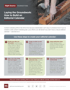 Laying the Groundwork: How to Build an Editorial Calendar