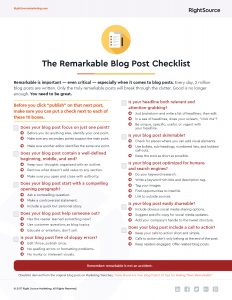 Checklist: 10 Tips for Creating Remarkable Blog Posts