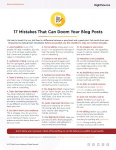 Checklist: 17 Mistakes That Can Doom Your Blog Posts